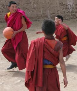 tibetan monks playing ball