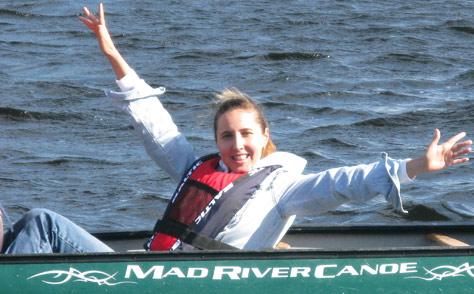 Olga in canoe