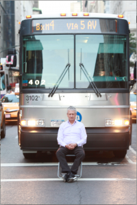 Roy meditating plus bus